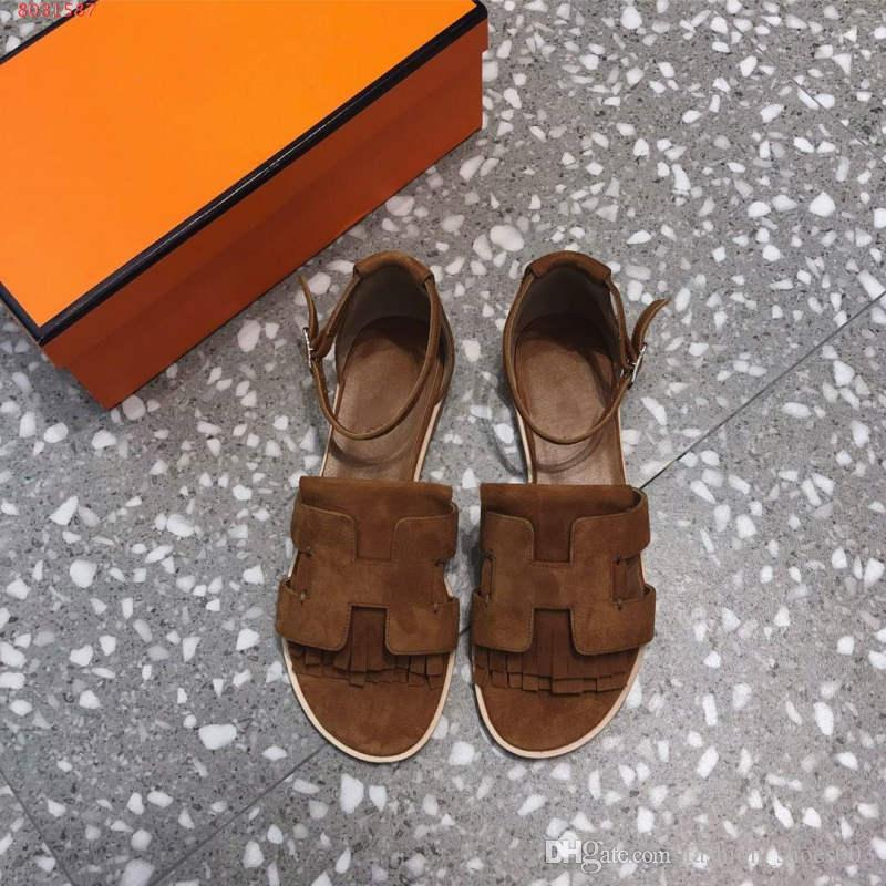 3457f69ac Compre Zapatos De Mujer Primavera Verano 2019 Nuevas Sandalias Planas  Fringe Decoración Suela De Caucho De Cuero Cómodo Plano Inferior Número 35  40 A  87.44 ...