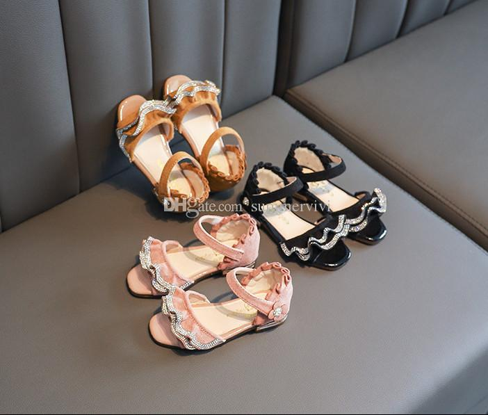 a72cb89cd6c Girls Princess Sandals Kids Double Pocket Rhinestones Falbala Sandals 2019  Summer Children Ruffle Suede Flower Buckle Strap Flat Shoes F5832 Kids  Athletic ...