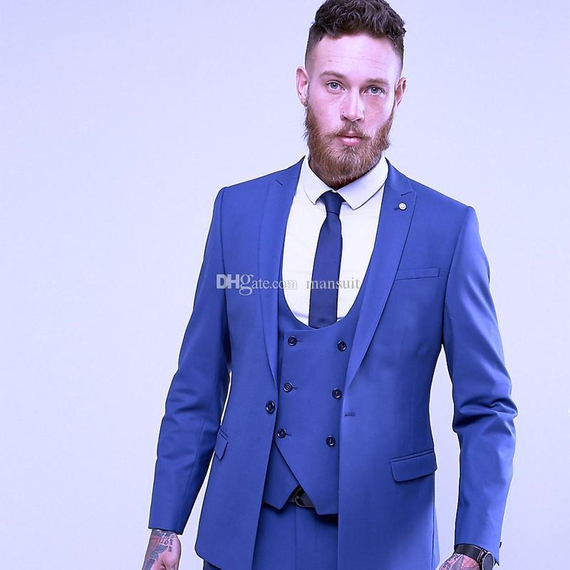 Compre Groomsmen Bonito Pico Lapela Do Noivo Smoking Azul Royal Ternos Dos  Homens De Casamento   Baile   Jantar Melhor Homem Blazer Jaqueta + Calça +  Colete ... 569c706dcf5
