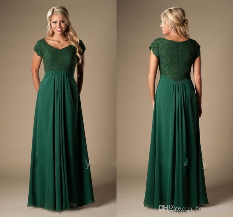 283539a5 Vestidos de dama de honor de color verde oscuro vintage largos con mangas  de encaje Gasa modesta Vestidos de fiesta de bodas baratos Vestidos de una  ...