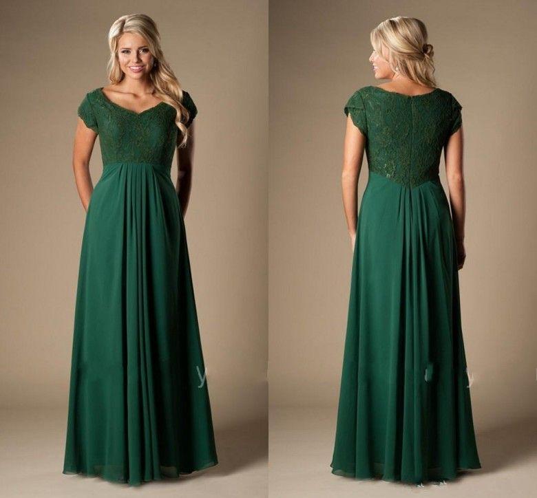 Vintage Wedding Dresses Canada: Vintage Dark Green Bridesmaid Dresses Long With Cap