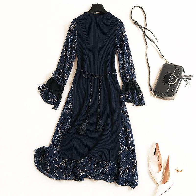 2019 Fall Autumn Black / Blue Long Sleeve Round Neck Floral Print Knitted Panelled Belted Midi Dress Casual Fashion Dresses OLB14F5846