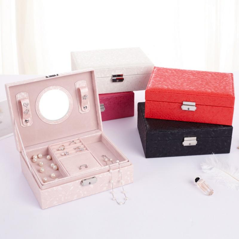 PU Leather Jewelry Storage Case Organizer Box with Lock and Mirror for Earrings Rings Jewelry Box Useful Makeup Organizer