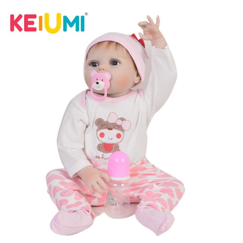 92457a59da09c Acheter KEIUMI Vente Chaude 23    57 Cm Reborn Bébé Fille Poupées Complet  Corps En Silicone Lavable Belle Bébé Poupée Jouets Pour Enfants Cadeaux ...