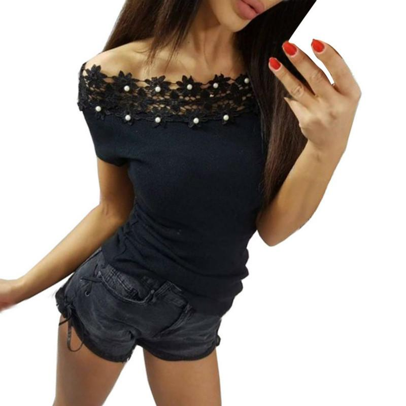 Sexy Women Summer Short Sleeve Slim Slash Neck Beading Floral Splice Lace T-Shirts Sweet All-Match Clothing Tops