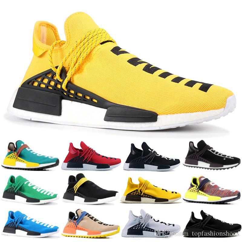 New Original Human Race Hu trail pharrell williams Running shoes Men Nerd black cream mens trainer women designer sports sneakers US 5-12