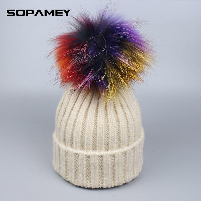 906b672bc Children Girl Colorful Pompom Hat Real Mink Raccoon Fur Women Winter  Beanies Skullies Pompom Hat Cap with Pompons Hats Cute Bon