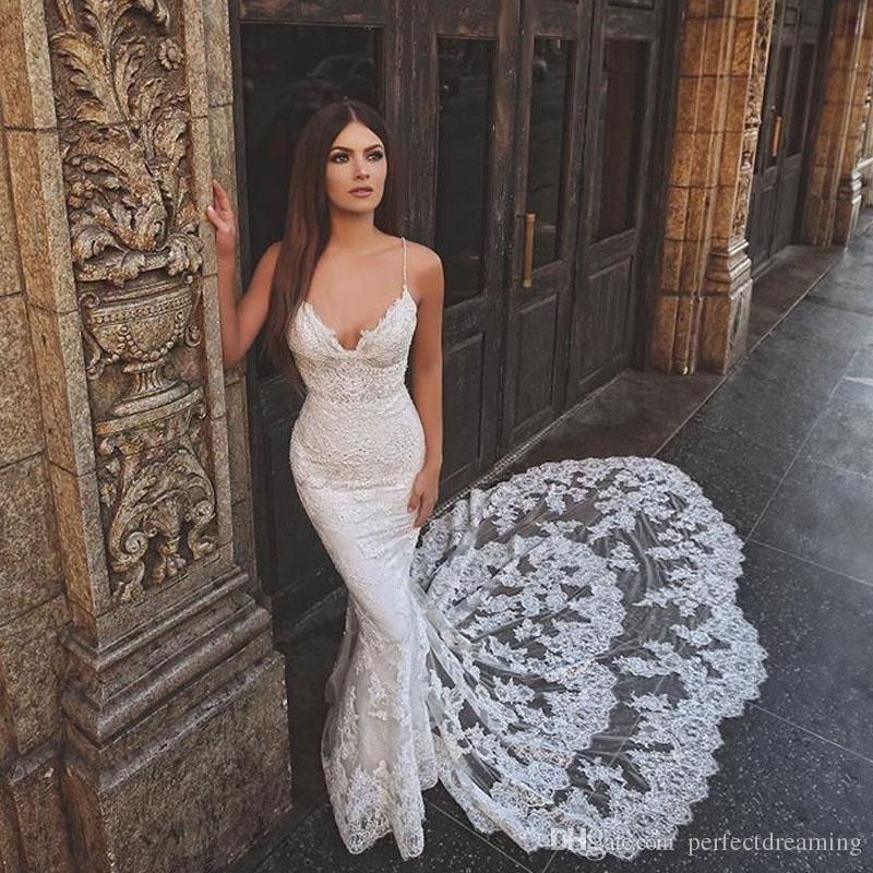 compre sirena vintage vestidos de novia de cuerpo entero apliques