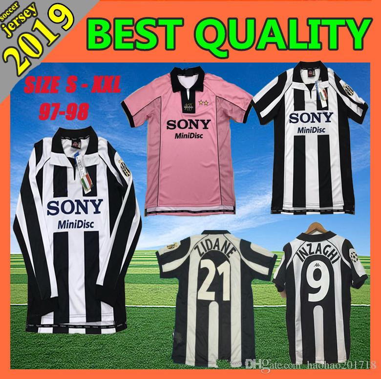 online store 2cd9b f26e5 1997 1998 Juventus ZIDANE RETRO SOCCER JERSEYS DEL PIERO 97 98 JERSEY  INZAGHI Deschamps FOOTBALL SHIRTS 120th anniversary Long sleeve Pink