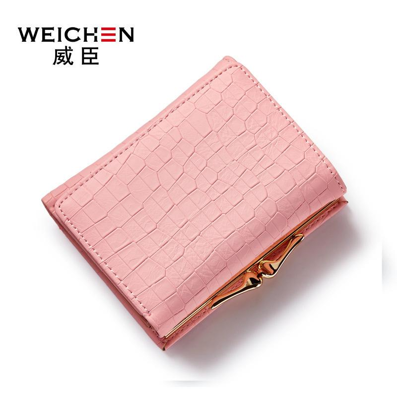 Weichen Hot Crocodile Pattern Pu Leather Women Short Wallet Fresh Style Lady Girls Notecase Female Purse With Coin Pocket