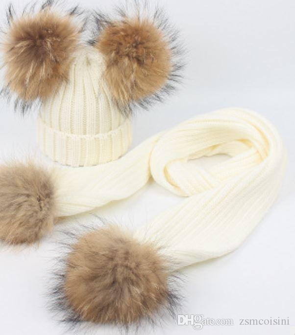 5172f846f1b 2019 Autumn And Winter Children Raccoon Hair Ball Wool Cap Frills Stripe Knitting  Warm Scarf Set Boys And Girls From Zsmcoisini