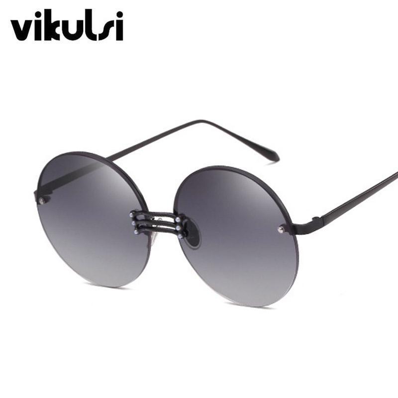 b48f133979 Compre Unisex Sin Montura Gafas De Sol Redondas Oculos Vintage Mujer Hombre  Diseñador De La Marca De Lujo Tres Puentes Gafas De Sol Para Mujer De Gran  ...