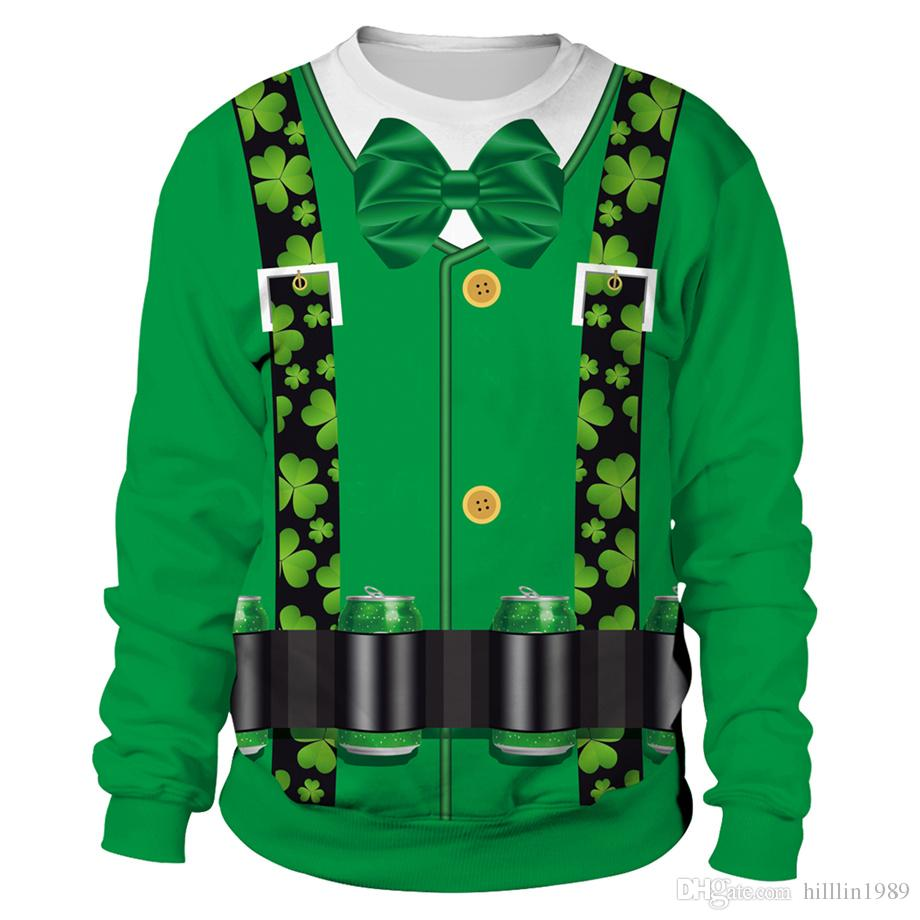107abc13e Green St. Patrick's Day Knits Unisex Lover's Clothing Casual Ireland  Holiday Tees Couples Tops 3D Digital Shamrocks Print Hoodies