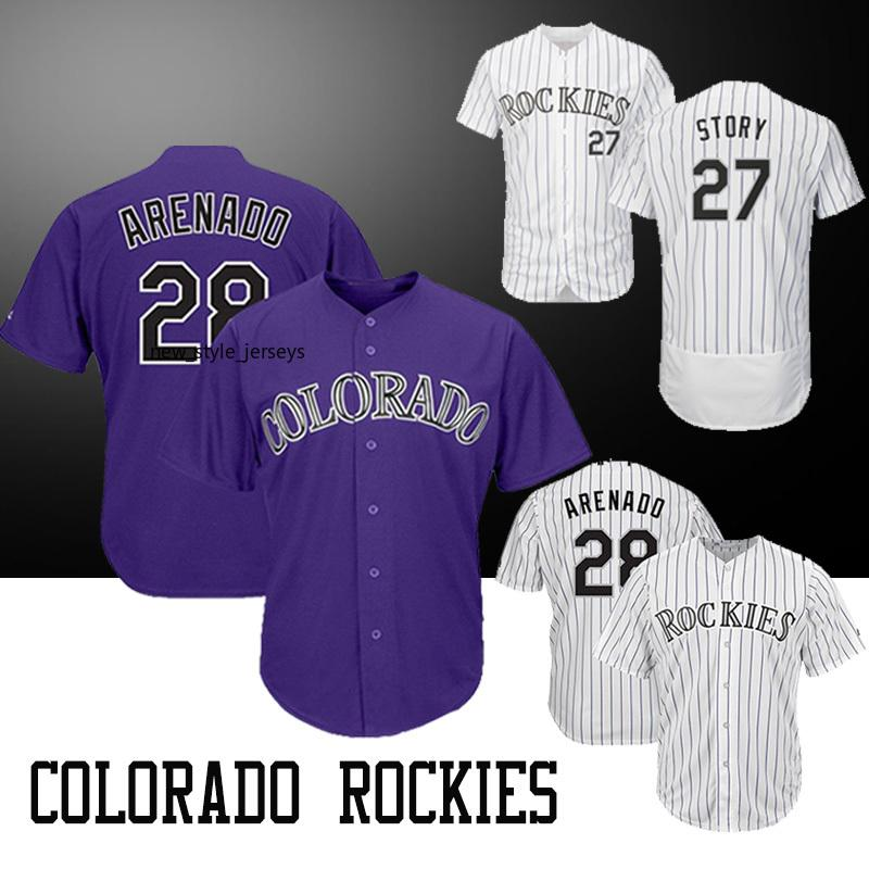ec807ff7b Compre Colorado 28 Nolan Arenado Men Rockies Jersey Hombres 27 Trevor Story  COOL Base Flex Base Bordado Logotipos Camisetas De Béisbol A  32.43 Del ...
