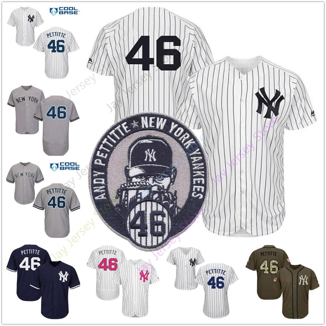 premium selection e5e45 59a8d Custom Andy Pettitte Yankees Jersey New York Home Away White Pinstripe Grey  Men Women Youth Size S-3XL