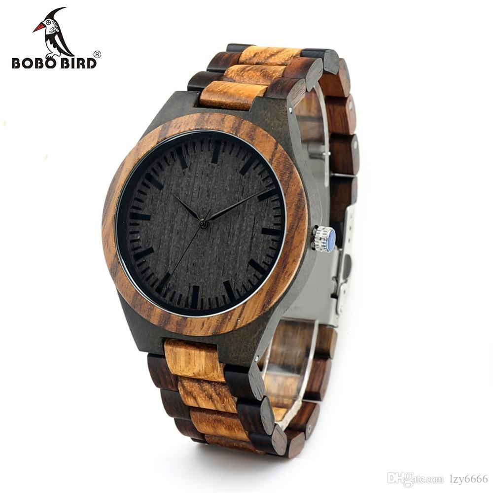 BOBO BIRD new round reentry zebra wood men's watch Japanese movement quartz watch black wood face with stylish two-color wood strap