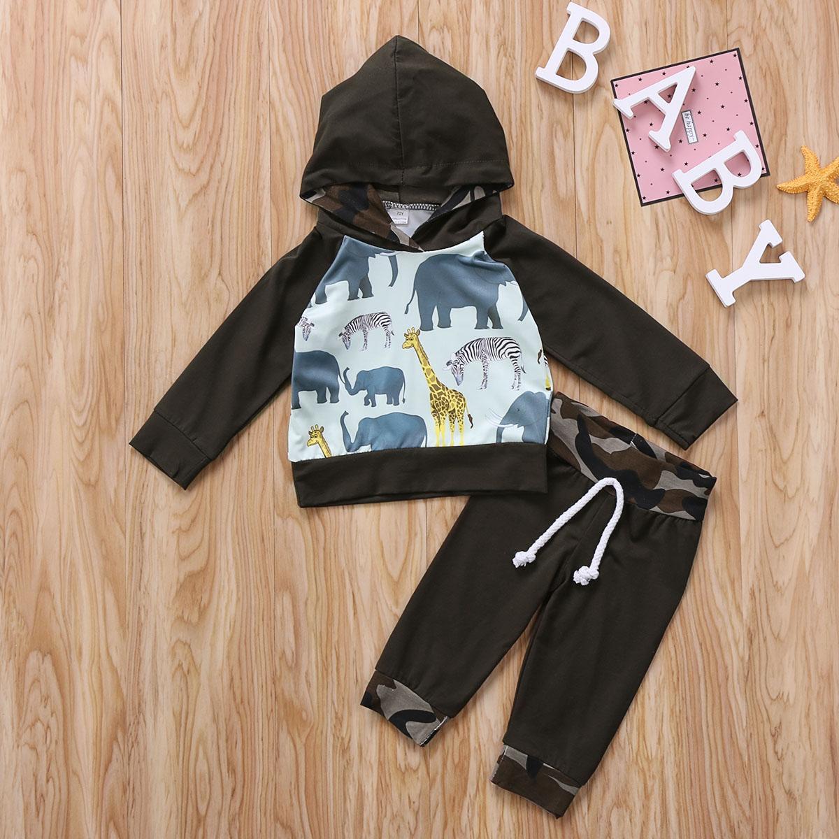 Animales de la historieta del niño del bebé niño ropa de los muchachos con capucha de manga larga camiseta de las tapas pantalones de camuflaje Trajes