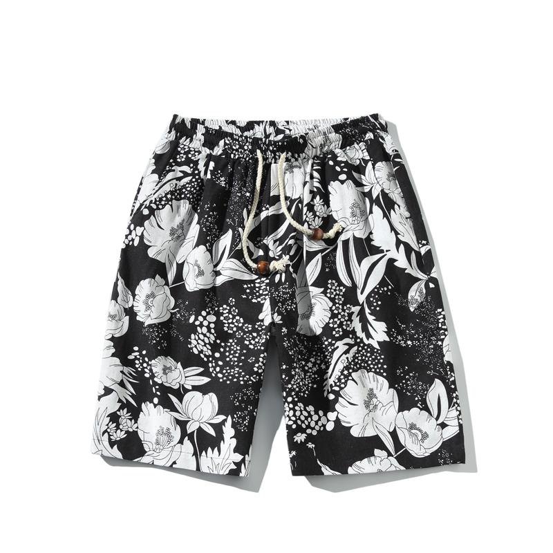 2019 Summer New Hawaiian Style Flower Print Men And Women Can Wear Straight Loose Casual Shorts Large Size Beach Shorts M-5xl T2190605