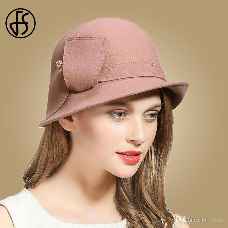2019 FS Elegant Pink Wool Felt Hats Wide Brim Fedora Hat For Women Winter  Cloche Bowler Round Cap Chapeau Femme Vintage Fedoras From Tenni b2355464930
