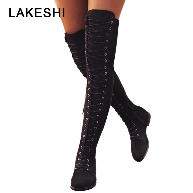 440b8a94003 Sexy Lace Up Over Knee Boots Women Rome Style Boots Women Flats Shoes Woman  Suede Long Botas Winter Thigh High 35 43 Skechers Boots Mid Calf Boots From  ...
