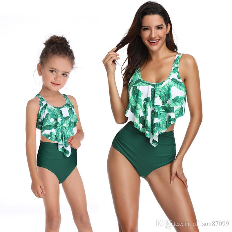 9628ec7bf8 Boutique Family Matching clothes Mother and daughter Swimwear Bikini set  tropical Leaves Ruffles Top+ High waist Shorts Boutique Hot selling
