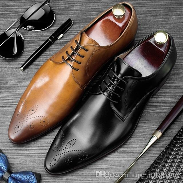 333ed0faed62 Italian Carved Pointed Toe Derby Man Formal Dress Shoes Genuine ...