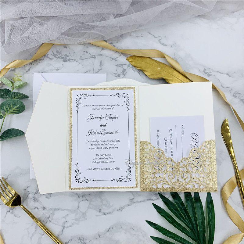 Modern Glitter Rose Gold Laser Cut Wedding Invitations Cards High ...