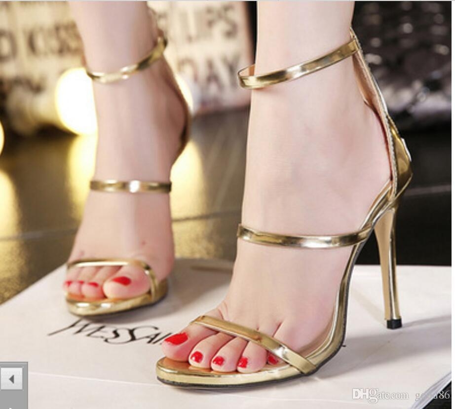 d45e193d25 2019 new Women's Night club Shoes Sexy Open Toe Night Shop Show Fine-heeled  Hollow-out High-heeled Sandals party T stage shows black gold