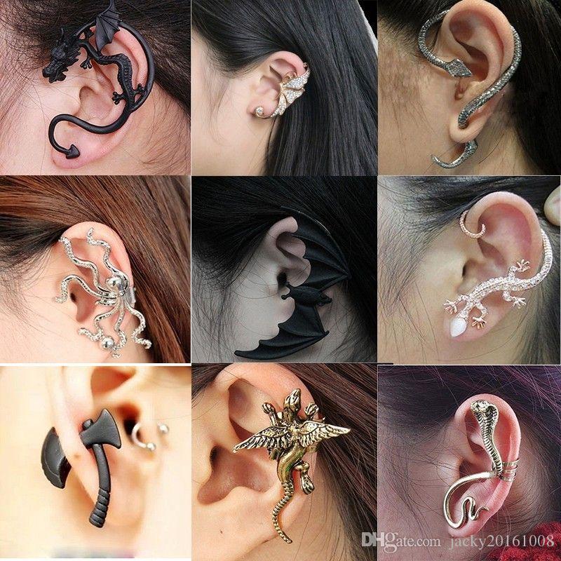 97873ef563b0 Compre DIY Negro Murciélago En Forma De Oído Clip Pendientes Punk Para Las  Mujeres Animal Earing Bat Alas Oído En Pendientes Pendientes Góticos Joyería  De ...