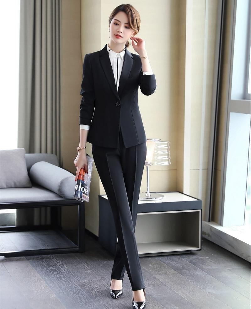 b24d8441eb8d 2019 Formal Ladies Black Blazer Women Business Suits With Pant And ...