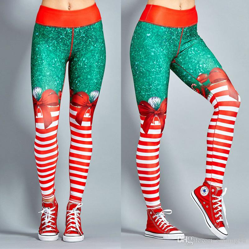 Winter Christmas Print Leggings Ourdoor 50% High Waist Athletic Wear Lady Exercise Capris Sexy Autumn Fitness Pants Xmas Jogging Clothing