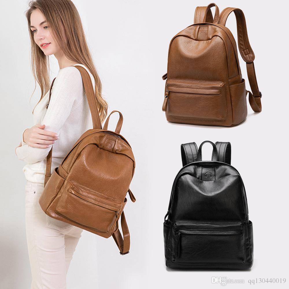 2019uk Female trend luxury designer backpack leather bag female college students bag large space fast delivery anti-theft waterproof