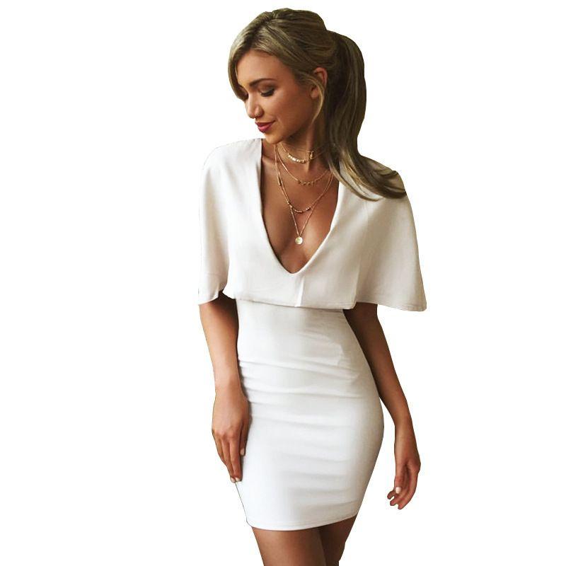3cff9d5a359 Sexy Club 2019 Summer Dress Female White Low Chest V Neck Cloak Short  Sleeve Mini Solid Slim Fit Women Bodycon Dresses Vestidos Party Dresses  Juniors Buy ...