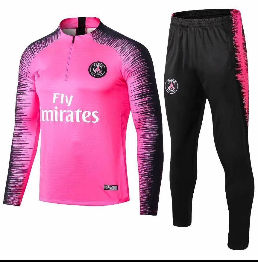 62ae68ee0a Compre Nova PSG Rosa Paris Saint Germain FR Camisas De Futebol 18 19 Treino  Terno De Treino MBAPPE Marselha Camisa De Futebol Jaqueta 2018 2019 Kit  Adulto ...