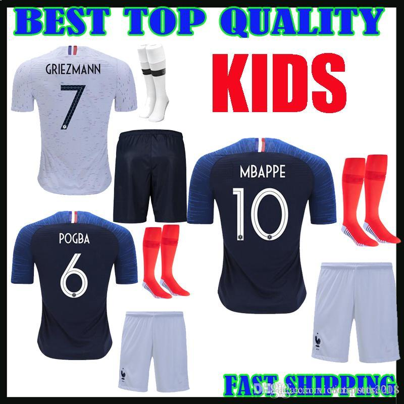 4ac238b2c38 World Cup 2018 French 2 Star Kids Soccer Jerseys GRIEZMANN MBAPPE 10 ...