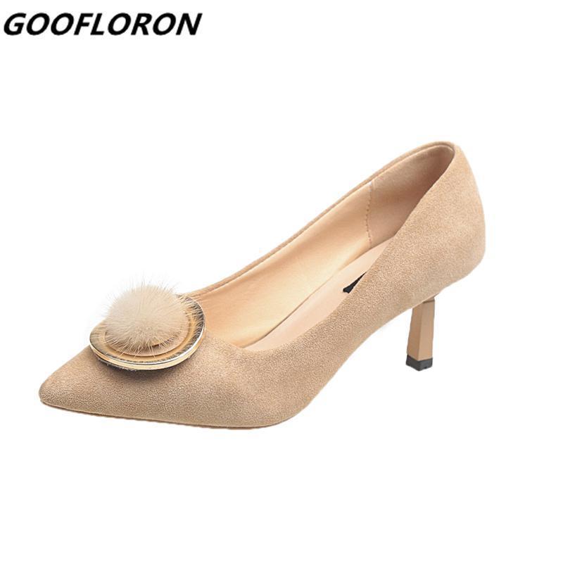 Zapatos de mujer de tacón bajo 2019 Nueva Pu Boca baja Boca de metal Decoración de las mujeres Arco Enrejado Diapositivas de piel Salvaje Zapato