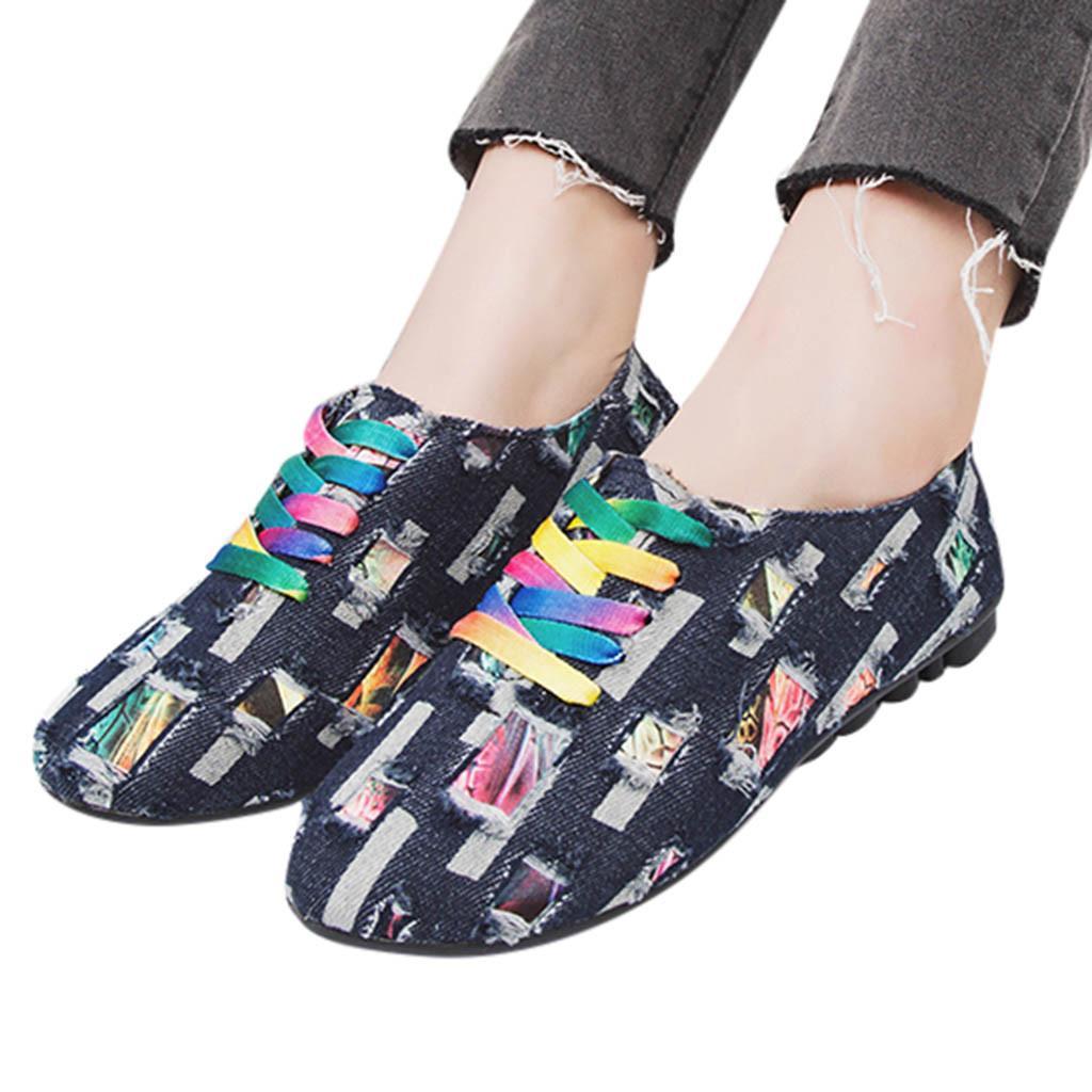 f93320e26c9a6 Compre 2019 Primavera Verano Mujer Zapatos Planos De Ocio Mocasines Para  Mujer De Tacón Bajo Punta Redonda De Tela De Mezclilla Antideslizante Con  Cordones ...