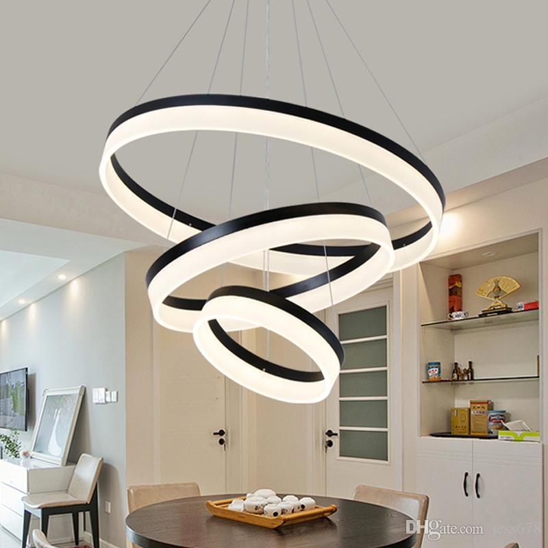 Modern Pendant Lamp Minimalist Acrylic Ring Led Chandelier Round Bedroom Study Room Restaurant Fashion Circle Chandelier 90-265v Ceiling Lights & Fans