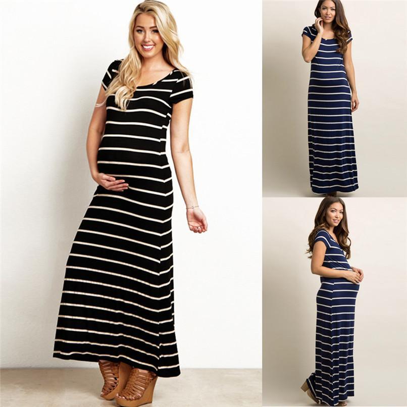 f6d404fdb Compre Ropa De Maternidad De Verano Moda Mujer Embarazada Maternidad A Rayas  De Manga Corta Hasta El Tobillo Vestido Casual Embarazo Vestido JE21   FN A  ...