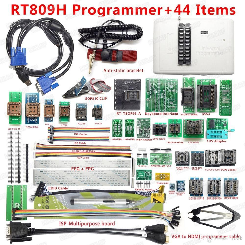 RT809H EMMC-Nand FLASH Universal Programmer 44 Items WITH EDID LCD CABEL  HDMI TO VGA ISP Board EMMC-Nand Free shipping