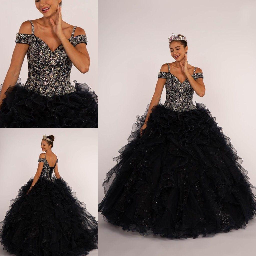 7eb9c81fb Compre Sexy Negro Glittery Crytal Ruffles Vestido De Fiesta De Quinceañera  Vestidos De Hombro Frío Corsé De Tul De Lentejuelas Princesa Barato Dulce  16 ...