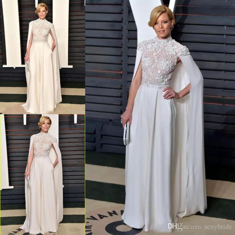 Elegant Arabic White Jumpsuits Evening Formal Wear With Long Wrap High Neck  2019 Top Lace Appliques Caps Prom Party Dresses Celebrity Gowns Evening  Black ... e1b3178af5e1