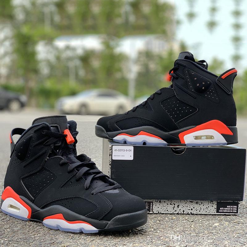 timeless design dc73f cdae0 Update Black Infrared 6s Basketball Shoes Mens Black Red Icy Blue Sole TOP  Quality Designer Sports Trainer Sneakers Size 8-12