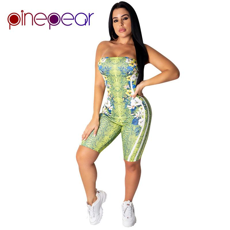 PinePear Snake Print Floral Striped Short Tuta Sportswear 2019 Women Off Shoulder Playsuit Yoga Set Tuta sportiva Dropshippping