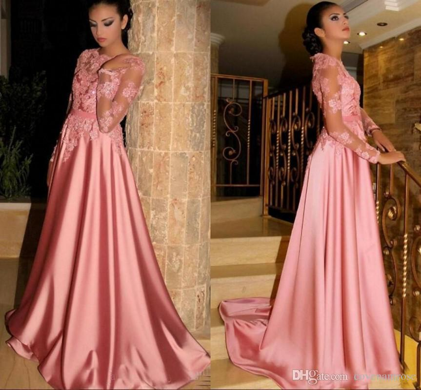 Vintage Arabic Prom Dresses 2019 Crew See Through Long Sleeves Special Occasion  Dress Lace Beaded A Line Satin Formal Party Gowns Prom Dresses Under 200 ... b34094cda