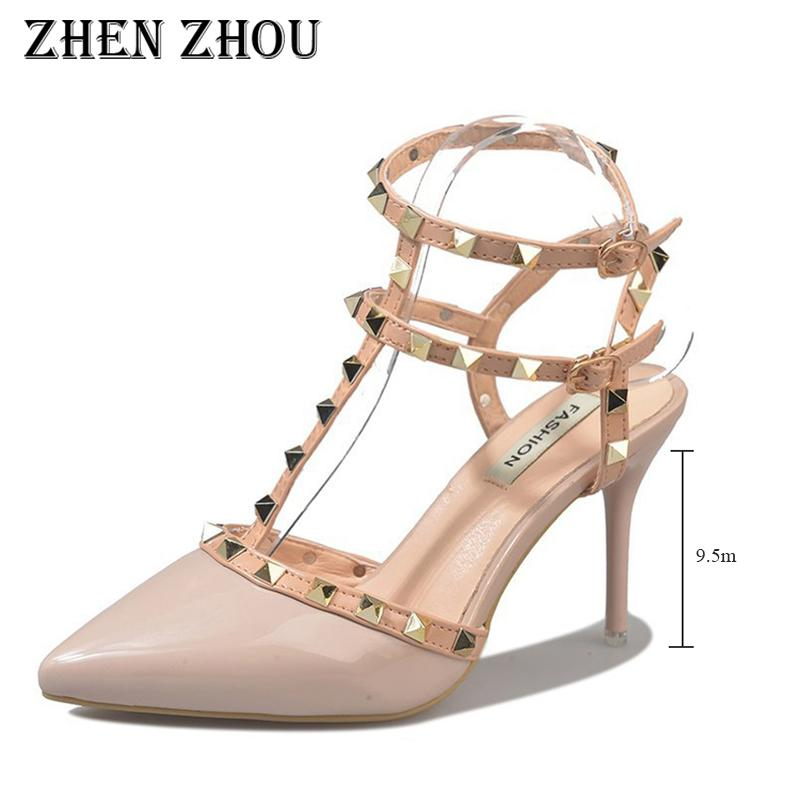 chaussures de sport 6ec90 55202 Dress Escarpins Femme 2019 Thin Heels Rivets Heels Chaussures Femme Pointed  Toe Study-toe With A Pair Of One-word Button-strap