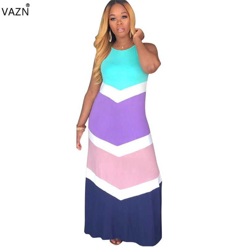 VAZN 2019 New summer bohemian style Dress Sexy sleeveless Dress Women streetwear solid floor-length colorful lady HMS5211