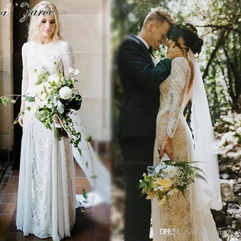 compre vestidos de novia bohemio de encaje francés vintage de manga