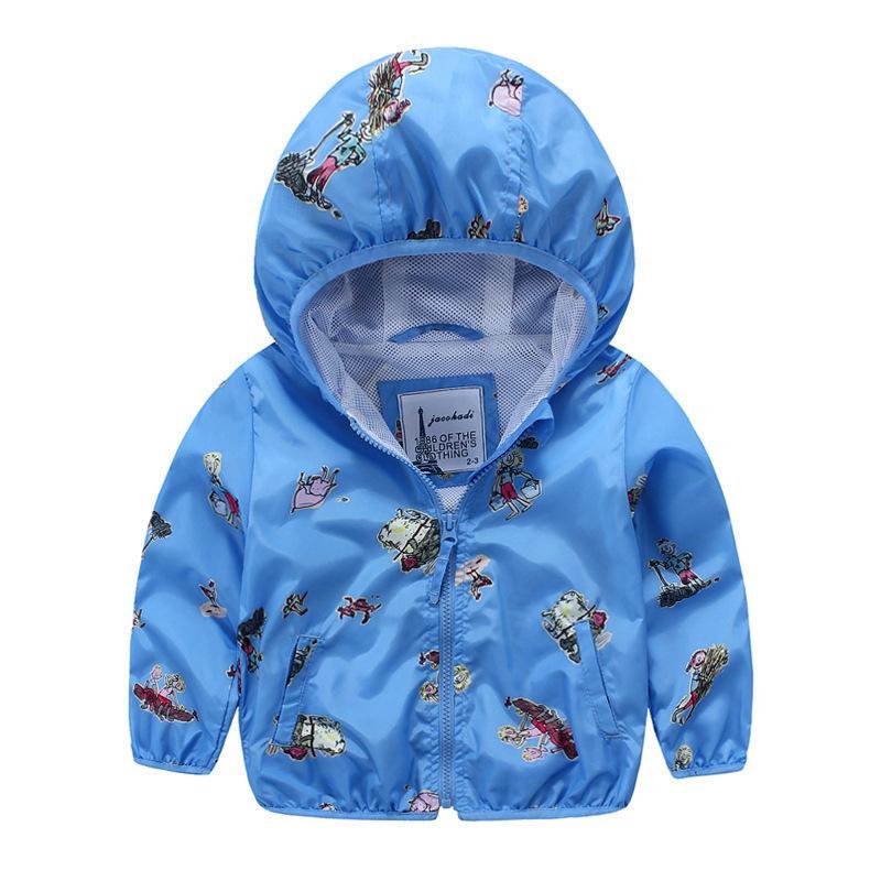 68ce73aa2 Brand Spring Children's Jacket Cartoon Printed Hooded Boys Jacket 2-7 Years Kids  Outerwear Coat Baby Boys Windbreaker