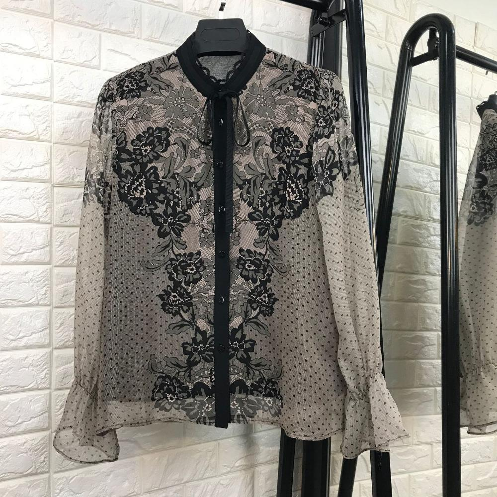 000%silk New Vogue Nice Spring Summer Fashion Women Sexy Lace Dots Print Tops Long Sleeve Patchwork Shirts